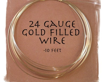 10 Feet of 24 Gauge Gold Filled Wire, Round, Half Hard Wire for Wire Wrapping, Jewelry Supplies