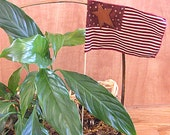 Americana Primitive Red and Tan  Patriotic USA flag Plant Stake
