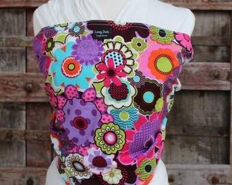 SUPER LIGHTWEIGHT Bamboo Baby Wrap Carrier-Funky Flowers-DvD Included-One Size Fits ALL