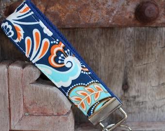 READY TO SHIP-Beautiful Key Fob/Keychain/Wristlet-Blue/Orange Paisley on Blue