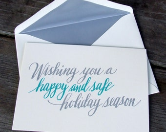 Happy Holiday Season Calligraphy Card, Hand Lettered Letterpress Christmas Card, Modern Lettering