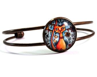 Bracelet, Bronze Cuff, Mexican Cat Art Print, Antique Gold Day of the Dead Cat Jewelry, Blue Orange Gift Bracelet for Teen Woman Friend