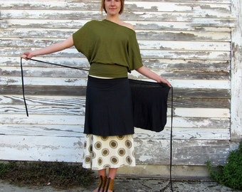 ORGANIC Wanderer Wrap Short Skirt - ( light hemp and organic cotton knit ) - organic hemp wrap skirt