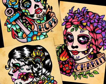 Day of the Dead Tattoo Prints FAITH, HOPE, and CHARITY 5 x 7, 8 x 10, or 11 x 14 - Set of Three