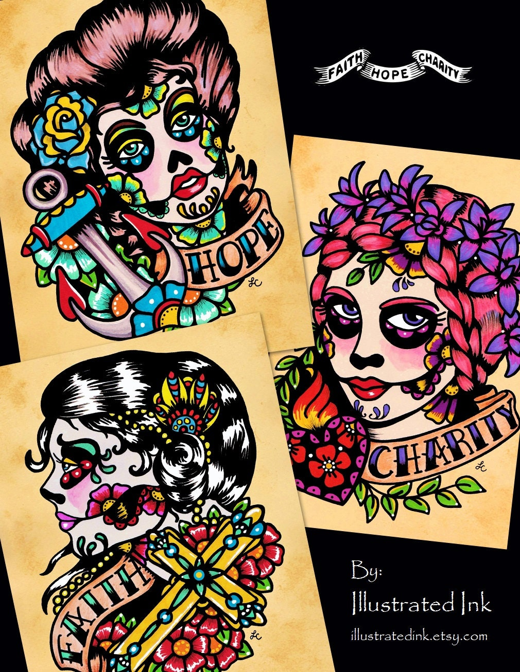 Mexican folk art tattoos the image kid for Old school day of the dead tattoo