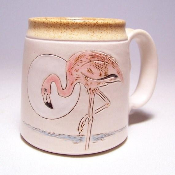 Pink Flamingo handmade Coffee Mug on white stoneware Limited series 22  (microwave safe)12oz