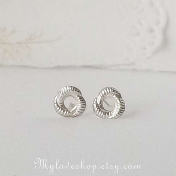 Silver Stud Earrings, 925 Sterling Silver Spiral Wave, Women Earrings, gift for her,