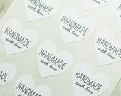 48 Handmade With Love Heart Stickers, Handmade Stickers, Handmade Labels, White Labels, Handmade With Love Stickers, Envelope Seals
