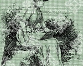 Digital Download Victorian Lady Reading digi stamp, digis, digital stamp, Antique Illustration, Elegant Lady with Umbrella