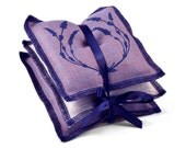 Lavender Sachet Set of 3 Screenprinted Belgian Linen in Blue Purple and Oatmeal