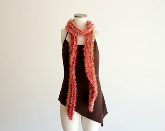 Orange Knit Long Skinny Boa Scarf with Violet Purple, Crimson Red, Burgundy, 7 Feet