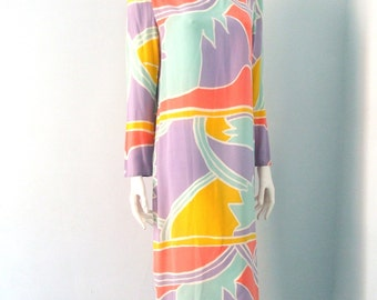 Vintage 80s Silk Dress Abstract Pastel Pop Art Dress