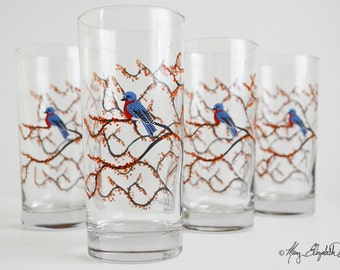 Autumn Bluebird Glassware - Set of 4 Everyday Glasses, Bluebird Glasses, Bluebirds, Blue Bird Glasses, Tree Glasses, Bird Glasses, Birds