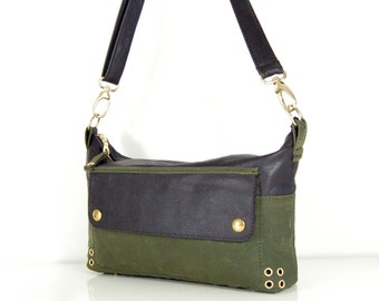 Eloise - Handmade Leather & Waxed Cotton Shoulder Bag
