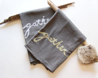 Set of 2 Gather Towels with Free Gift Box - Gray and Gold Flour Sack Dish Towel Set - Gather Kitchen Towels