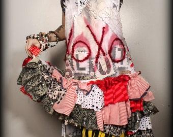 Sexy Ruffle Sundress, wastaland festival, doll costume, hand painted babydoll Dress, patchwork, braided back, Lolita, red black white, punk