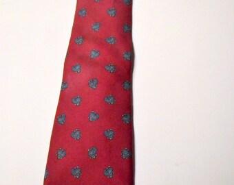 Vintage Men's Christain Dior Silk Skinny Necktie Red