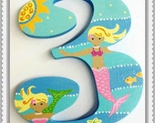 Custom Painted Decorative Wooden Number featuring Mermaids and Fish