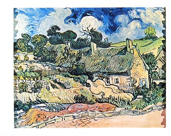 Van Gogh Art - Thatched Cottages at Cordeville - 1978 Vintage Book Page - Reproduction Print - 12 x 10