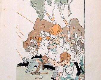 The Sun's Travels - Nursery Rhyme Print - 1922 Nursery Rhyme Book Page