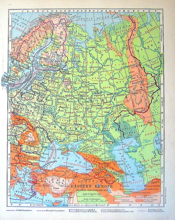 1920 Eastern Europe Political and Economic Map from Vintage World Geography Book World Atlas