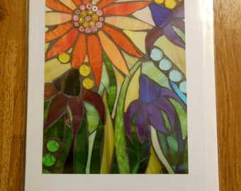 Echinacea and Sunflower Card -  Greetings Card - Mosaic Sunflower - Flower Card - Stained Glass Sunflower - Mosaic Flowers - Rainbow Art