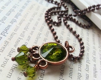 Copper and Olive Green Crystal Necklace E275