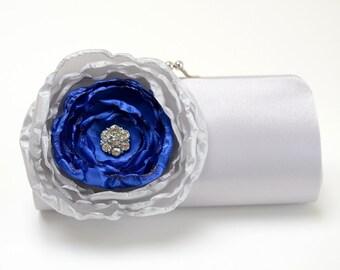 Silver & Royal Blue Bridal Clutch - Bridesmaid Clutch Rhinestones Pearls Kisslock Silver Clutch Ivory Flower
