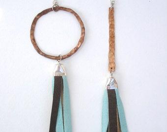 Assymetrical Copper Hoop Leather Tassel Earrings -Brown, Blue