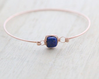Lapis Lazuli Rose Gold Bracelet , Bezel Wrapped Gemstone Stacking Bangle , 14K Gold Filled , Rose , Sterling Silver , Minimalist Fashion