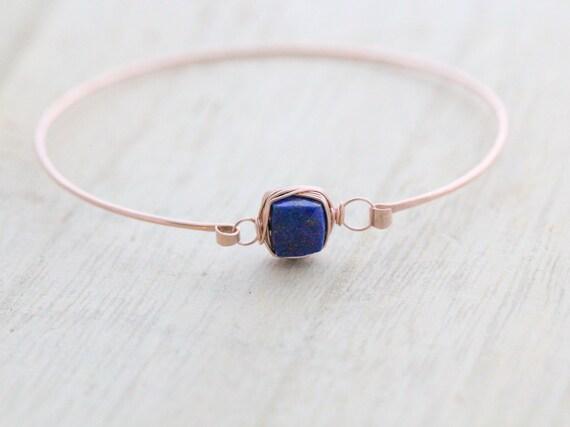 Lapis Lazuli Rose Gold Bracelet , Bezel Wrapped Gemstone Stacking Bangle , 14K Gold Filled , Rose , Sterling Silver , Minimalist Fashion