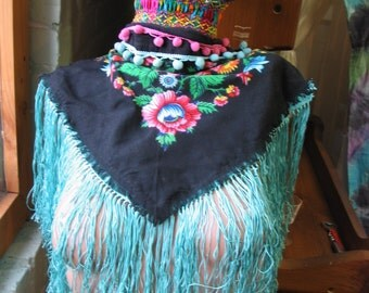 Gypsy Tribal Pink Rose on Black with turquoise Fringe Choker Collar Neckwarmer