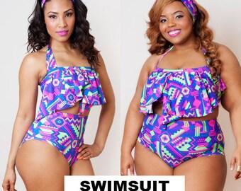 Bright Aztec Serengeti Swimsuit Bottom S M L 1X 2X 3X