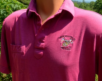 vintage 80s polo golf shirt JAPAN okinawa awase meadows country club Medium pink