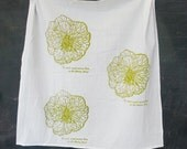FLOUR SACK Screenprint Tea Towel Chartruese Rose Pattern and Rumi Quotes