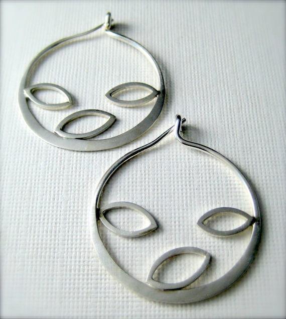 Sterling silver hoop earrings,  Autumn Hoops