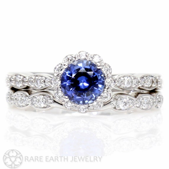 Blue Sapphire Engagement Ring Wedding Set Diamond by RareEarth