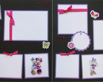 12x12 Premade Scrapbook Layout Pages -- MiNNie MoUse -- 100% GIRL - girl scrapbook pages, Daisy Duck, Disney World, Disneyland