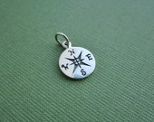 Compass charm , sterling silver compass, sterling silver charm, north, south, east, west, direction, sterling silver jewelry, nautical charm