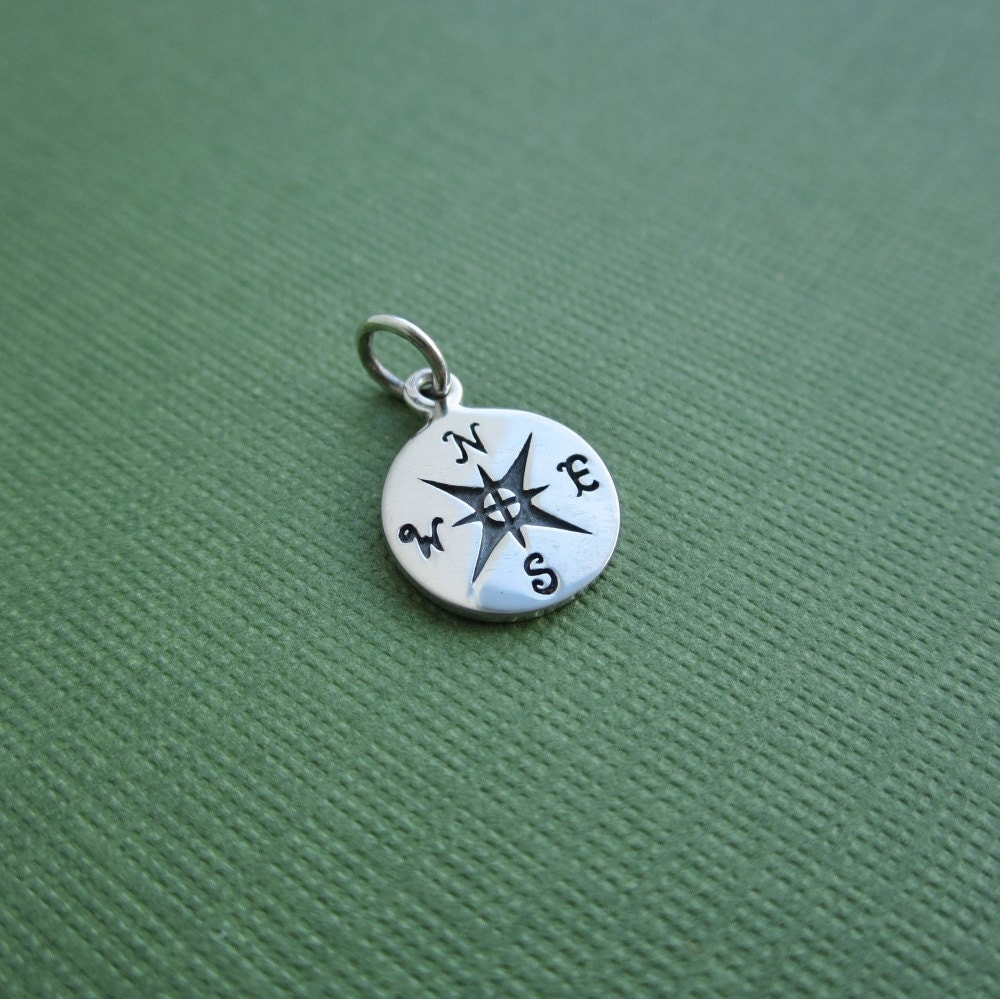 compass charm sterling silver compass sterling silver