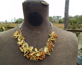 """OOAK Upcycled 18"""" Necklace with Silver-Toned Chains and Vintage Khaki Miniature Military Soldiers"""