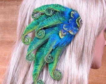 Peacock Waves Feather Hair Piece - Ready to Ship