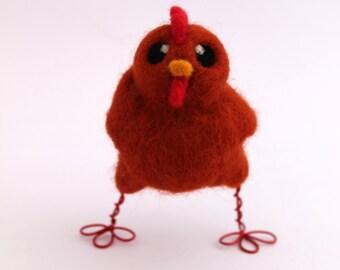 Needle Felted Ginger Chicken Farmyard Bird