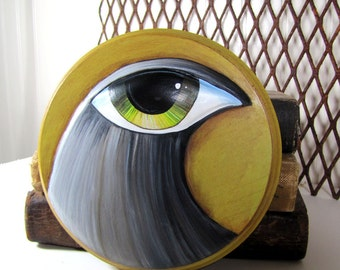 Round Art Sculpture - Big Eyed Bird - Paper Mache