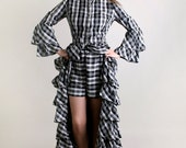 Vintage Plaid Dress - Black and White Tartan Ruffle Tiered Gothic Lolita Dress and Hot Pants - Large