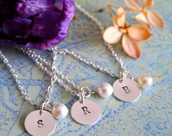 THREE Personalized Bridesmaid Necklaces, Bridesmaid Set, Pearl Necklace with Initial, Bridesmaid Gift, Bridal Party Gift