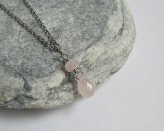 Rose Quartz Necklace, Sterling Silver Rose Quartz Charm, Gemstone Jewelry, Silver Chain