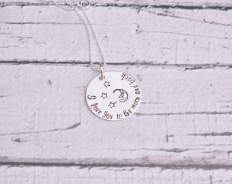 I love you to the moon and back necklace, Hand Stamped Necklace, Sterling Silver, custom jewelry, personalized necklace, moon necklace