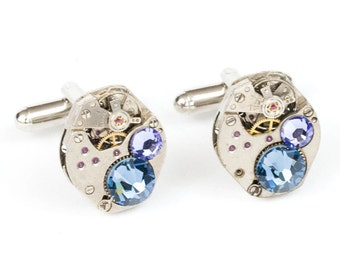 Steampunk Silver Cufflinks with Perfectly Matched Vintage Watch Movements and Blue and Purple Swarovski Crystals by Velvet Mechanism