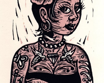 Art, Tattooed Girl Linocut Print, Wall Art, Tattooed Lady Linocut Print, Home Decor